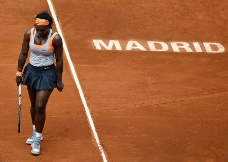 Williams of the U.S. reacts during her semi-final match against Kvitova of the Czech Republic at the Madrid Open tennis tournament in Madrid