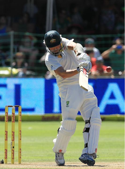 Australia's batsman Ryan Harris, plays a stroke shot on the third day of their 2nd cricket test match against South Africa, at St George's Park in Port Elizabeth, South Africa, Saturday, Feb.