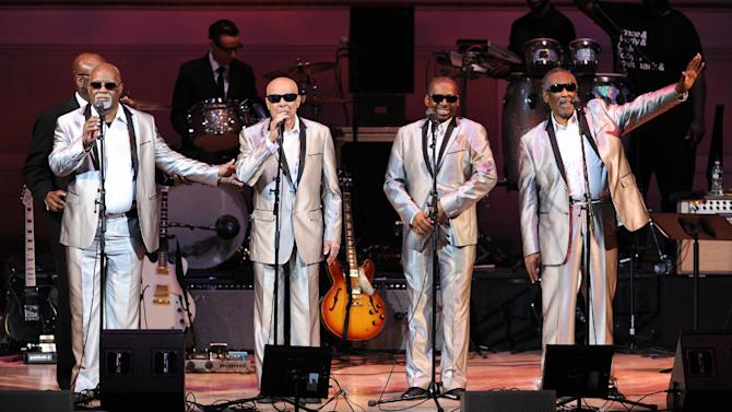 "The Blind Boys of Alabama perform at ""The Music of Prince"" tribute concert at Carnegie Hall on Thursday March 7, 2013 in New York. (Photo by Evan Agostini/Invision/AP)"