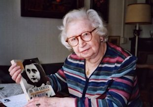 AP Images/Miep Gies in 2007, holding her memoir, Anne Frank Remembered