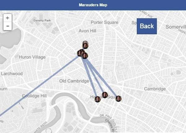 """The Chrome extension, dubbed """"Marauder's Map"""" in a tongue-in-cheek nod to Harry Potter, harvests your friends' location data to map a history of their movements over time."""