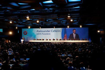 Newly elected UEFA President Ceferin of Slovenia delivers a speech during the UEFA Extraordinary Congress in Athens