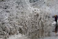 Freezing water from motorists splashing through a puddle has formed hundreds of icicles on a hedgerow in Ashford, Kent (SWNS)