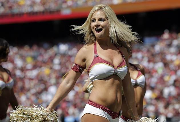 The Washington Redskins cheerleaders perform during the first half of an NFL football game against the Jacksonville Jaguars Sunday, Sept. 14, 2014, in Landover, Md. (AP Photo/Mark E. Tenally)
