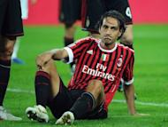 AC Milan's defender Alessandro Nesta, pictured after hurting his right knee during a Serie A match against Juventus in Turin, in October 2011. Nesta, Filippo Inzaghi and Gennaro Gattuso will end their AC Milan careers against Novara on Sunday as the end of an era is all but completed at the San Siro