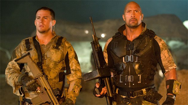Channing Tatum as Duke and Dwayne Johnson as Roadblock