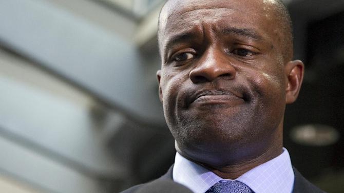 "In this May 24, 2012, file photo, NFLPA executive director DeMaurice Smith pauses as he speaks during a news conference in Washington. The NFL Players Association is asking player agents to warn clients that signing with the New Orleans Saints could subject them to unfavorable workers compensation benefits. In an email Friday, May 16, 2014, Smith said union officials believe agents should ""consider the Saints' efforts"" to push for legislation that would substantially reduce benefits to players who are hurt outside the 17-week regular season, when player salaries are paid"