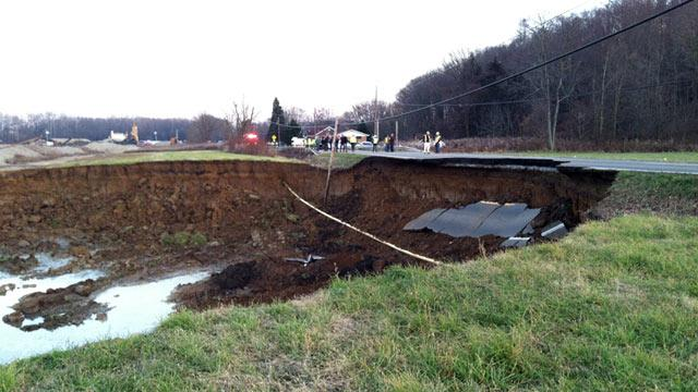 Massive Hole Swallows Part of Ohio Road