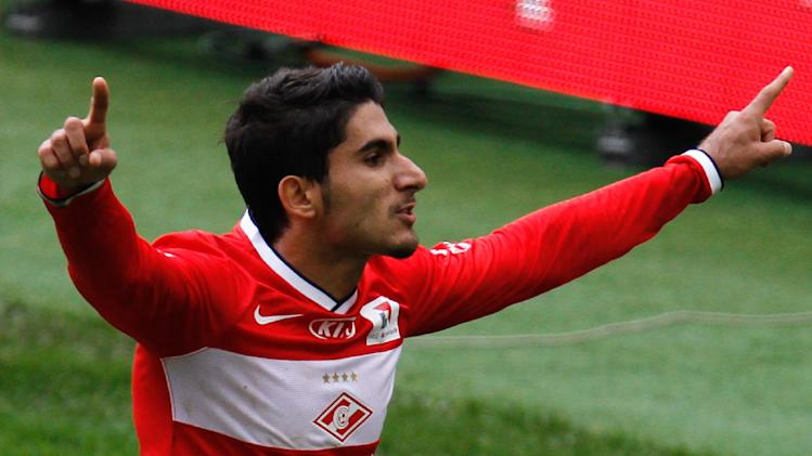 Spartak's Araz Ozbiliz celebrates his goal against CSKA during a Russian Premier League Championship soccer match between CSKA Moscow and Spartak Moscow at the Lokomotiv stadium in Moscow, Russia, Sunday, Sept. 22, 2013. Spartak won 3-0