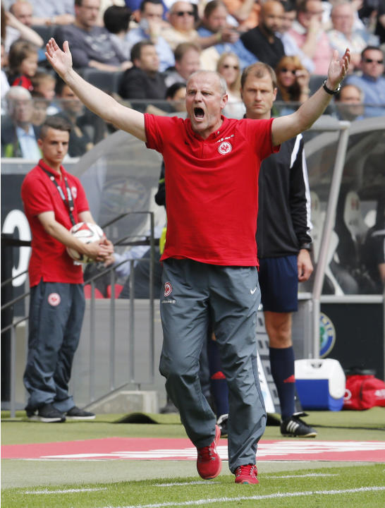 FILE - In this May 23, 2015 file photo show s Frankfurt's head coach Thomas Schaaf gesturing during a German first division Bundesliga match between Eintracht Frankfurt and Bayer 04 Leverkusen in