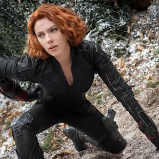 """This photo provided by Disney/Marvel shows, Scarlett Johansson as Black Widow/Natasha Romanoff, in the film, """"Avengers: Age Of Ultron."""" The movie releases in the U.S. on May 1, 2015.  (Jay Maidment/Disney/Marvel via AP)"""