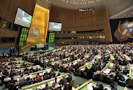 This file photo shows the United Nations General Assembly chamber, during a vote on the status of the Palestinian Authority, on November 29, 2012, at UN headquarters in New York. UN contributions are worked out according to a country's share of global gross national income (GNI).