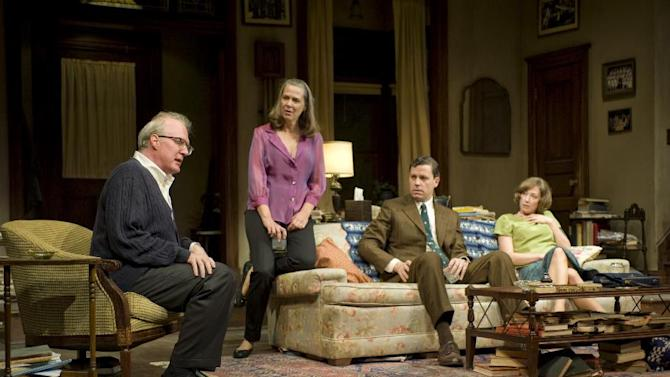 This theater image released by Jeffrey Richards Associates shows, from left, Tracy Letts, Amy Morton, Madison Dirks and Carrie Coon during a performance of Edward Albee's Who's Afraid of Virginia Woolf at the Booth Theatre in New York. (AP Photo/Jeffrey Richards Associates, Michael Brosilow)