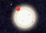 In this family portrait of the PH1 planetary system, the newly discovered planet is depicted in this artist's rendition transiting the larger of the two eclipsing stars it orbits. Off in the distance, well beyond the planet orbit, resides a sec