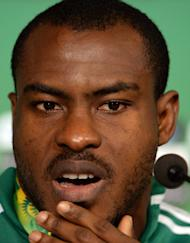 Nigeria goalkeeper Vincent Enyeama gives a press conference in Belo Horizonte, Brazil on June 16, 2013. Nigeria face Tahiti in their Confederations Cup opener