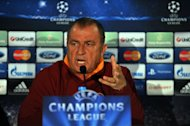 Galatasaray coach Fatih Terim gives a press conference on February 19, 2013 in Istanbul. Terim's team are looking for four European wins in a row against Schalke on Wednesday