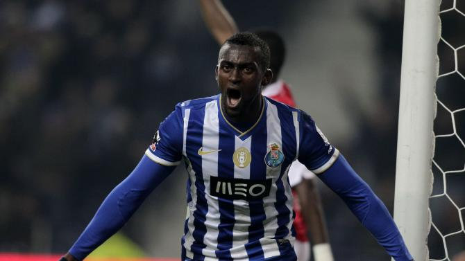 Porto's Martinez celebrates his goal against Braga during their Portuguese Premier League soccer match at the Dragao stadium in Porto