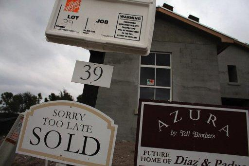 A sold sign outside a Toll Brothers Inc home in Boca Raton, Florida. US home prices rose in September, a fresh sign of recovery in the ailing housing market, S&P/Case-Shiller data released Tuesday showed.