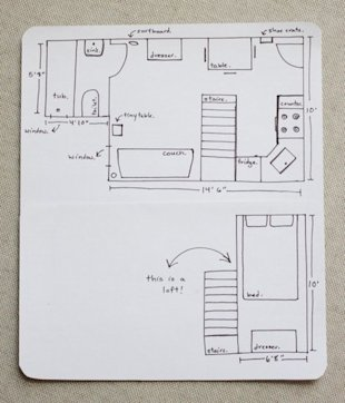 The couple's hand-drawn floor plan. (Photo: Erin Boyle / Readingmytealeaves.com)