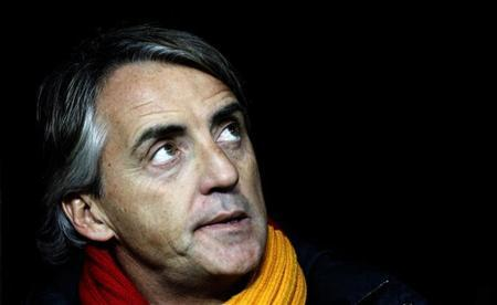 Coach Mancini of Galatasaray looks on before the Champions League soccer match against Juventus in Istanbul