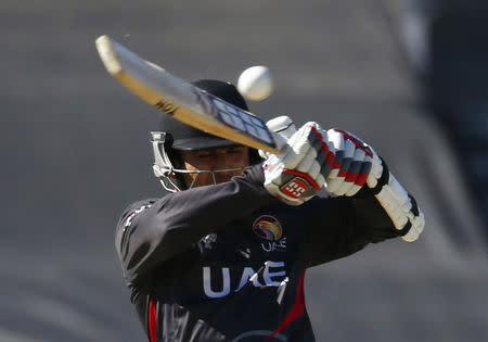 UAE's Shaiman Anwar plays a high hook shot during his Cricket World Cup match against India in Perth