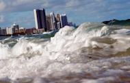 Buildings are seen near the ocean as reports indicate that Miami-Dade County in Florida in the future could be one of the most susceptible places when it comes to rising water levels due to global warming. The sea level on a stretch of the US Atlantic coast that features the cities of New York, Norfolk and Boston is also rising up to four times faster than the global average