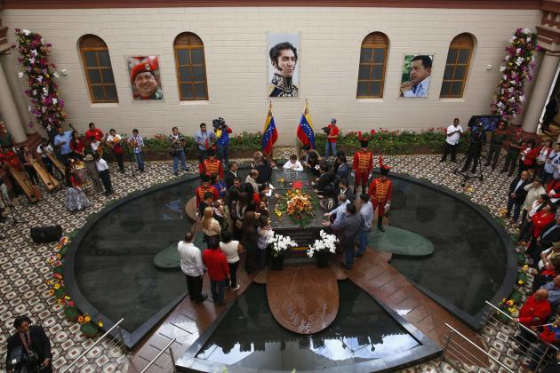 Relatives of Venezuela's late president Hugo Chavez attend a ceremony commemorating the 2nd anniversary of his death in Caracas