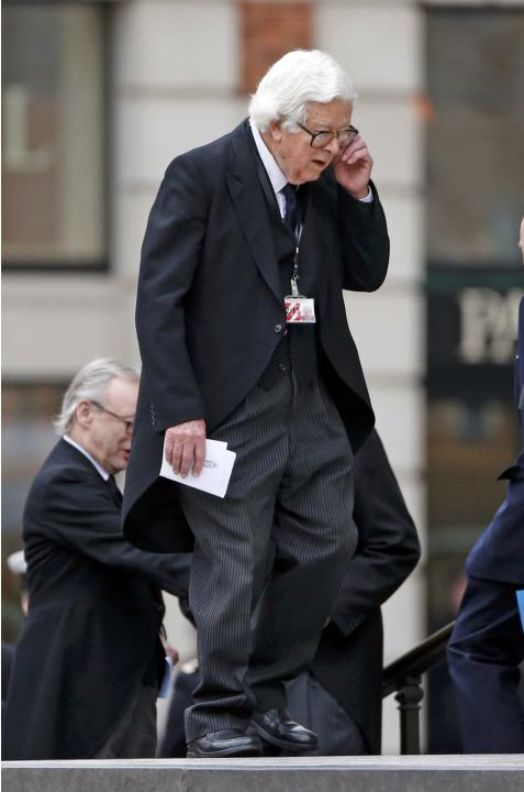 File photograph of former British finance minister Geoffrey Howe arriving for the funeral service of former British prime minister Margaret Thatcher at St Paul's Cathedral in London