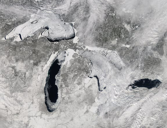 The Moderate Resolution Imaging Spectroradiometer (MODIS) on NASA's Aqua satellite captured this image on Feb. 19, 2014.
