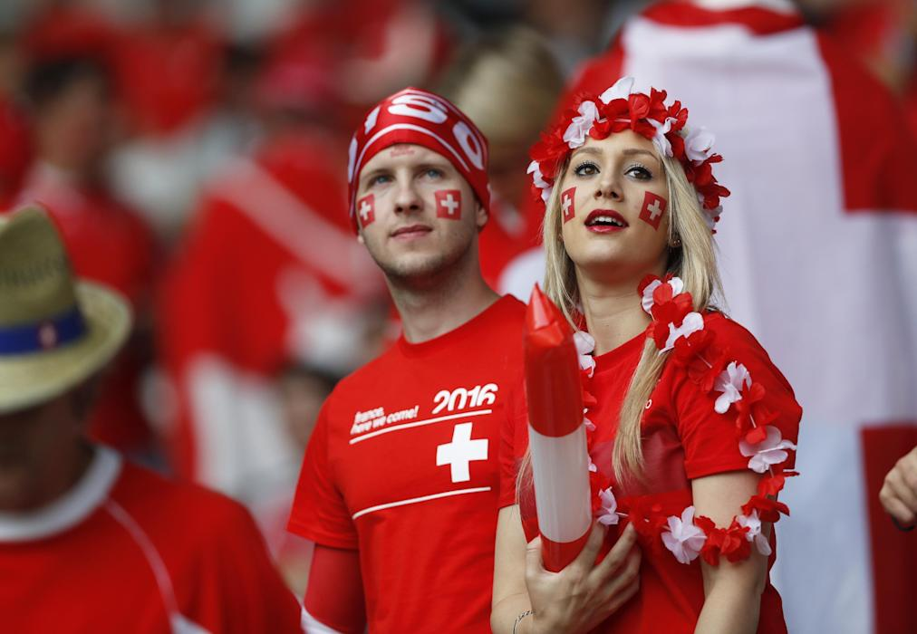 Switzerland fans before the game
