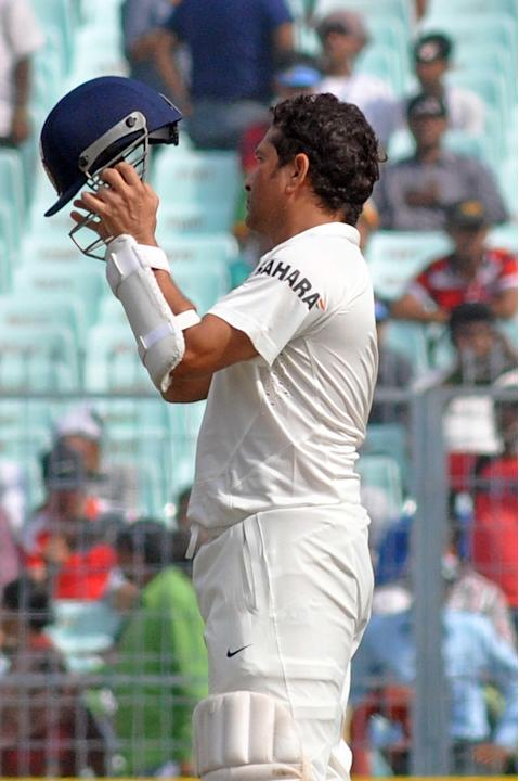 Indian player Sachin Tendulkar during the 2nd day of the 1st test match between India and West Indies at Eden Gardens, Kolkata on Nov. 7, 2013. (Photo: IANS)