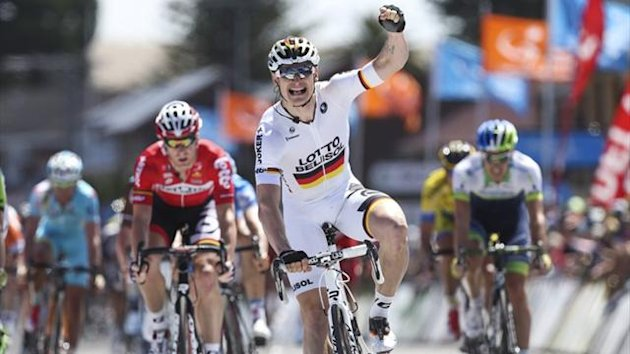 Andre Greipel reacts after winning stage four of the 2014 Tour Down Under (AFP)