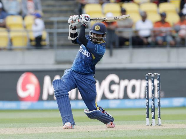 Sri Lanka's Thirimanne plays a shot during their Cricket World Cup match against England in Wellington