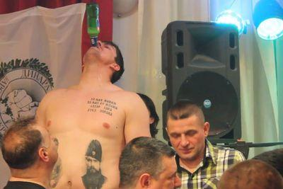Watch Darko Milicic make his tattoos drink beer, seriously