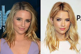 Agron (at left) went for a muted take on spring makeup, while Benson (at left) played with brighter colors.