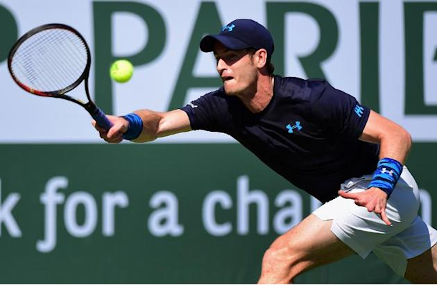 Andy Murray of Great Britain hits a forehand return during the BNP Paribas Tennis Open in Indian Wells, California on March 19, 2015
