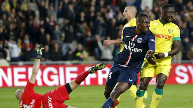 Paris St Germain's Matuidi celebrates after scoring against FC Nantes during their French Ligue 1 soccer match at the Beaujoire stadium in Nantes