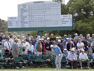 Sammy Schmitz hits to the ninth green during the first round of the Masters. (AP)