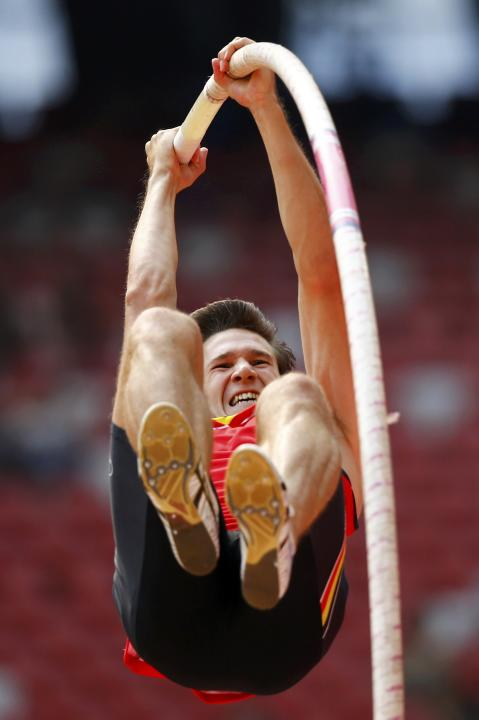 Van Der Plaetsen of Belgium competes in the pole vault event of the men's decathlon during the 15th IAAF World Championships at the National Stadium in Beijing