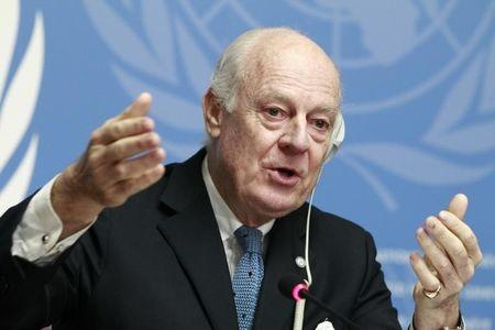 United Nations Special Envoy of the Secretary-General for Syria de Mistura speaks to media during a news conference at the Palais des Nations in Geneva