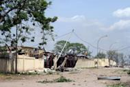 The damaged Mpila military barracks after a series of explosions in the Congolose capital of Brazzaville on March 4, 2012. At least 146 people were killed when an electrical short circuit sparked a series of blasts at the munitions depot in the barracks