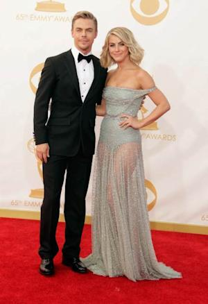 Derek Hough and Julianne Hough arrive at the 65th Annual Primetime Emmy Awards held at Nokia Theatre L.A. Live on September 22, 2013 in Los Angeles -- Getty Images
