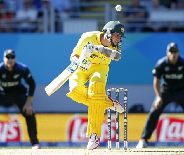 Australia's Pat Cummins loses his footing during their Cricket World Cup match against New Zealand in Auckland