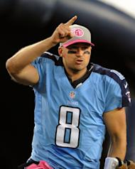 Titans' quarterback Matt Hasselbeck, seen here in action on October 11, 2012, at LP Field in Nashville, Tennessee. Hasselbeck this week showed at the Consumer Electronics Show a new skullcap from a company called MC10 that can fit under the helmet of a football player or other athlete and measure the impact of a collision, in an effort to better deal with concussions and similar injuries