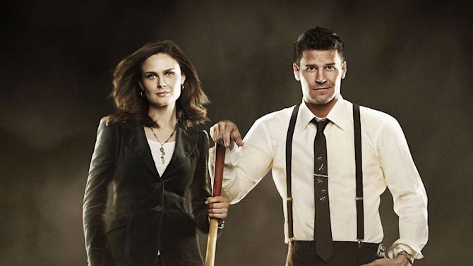 """Emily Deschanel stars as Dr. Temperance Brennan and David Boreanaz stars as FBI Special Agent Seeley Booth in """"Bones."""""""