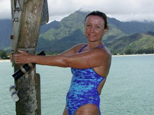 Penny Palfrey will swim with sharks to break a world record. (Photo by Anne O'Malley)
