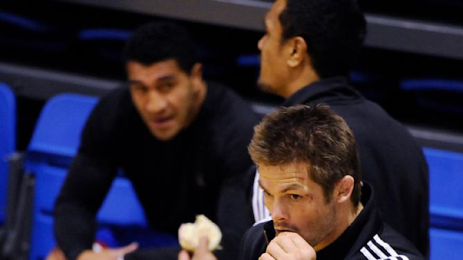 New Zealand All Blacks Richie McCaw takes a drink during a game of indoor soccer at a training session in Auckland, New Zealand, Tuesday Oct 18, 2011. New Zealand play France in the Rugby World Cup final in Auckland, New Zealand Sunday Oct 23.    (AP Photo/Ross Land)