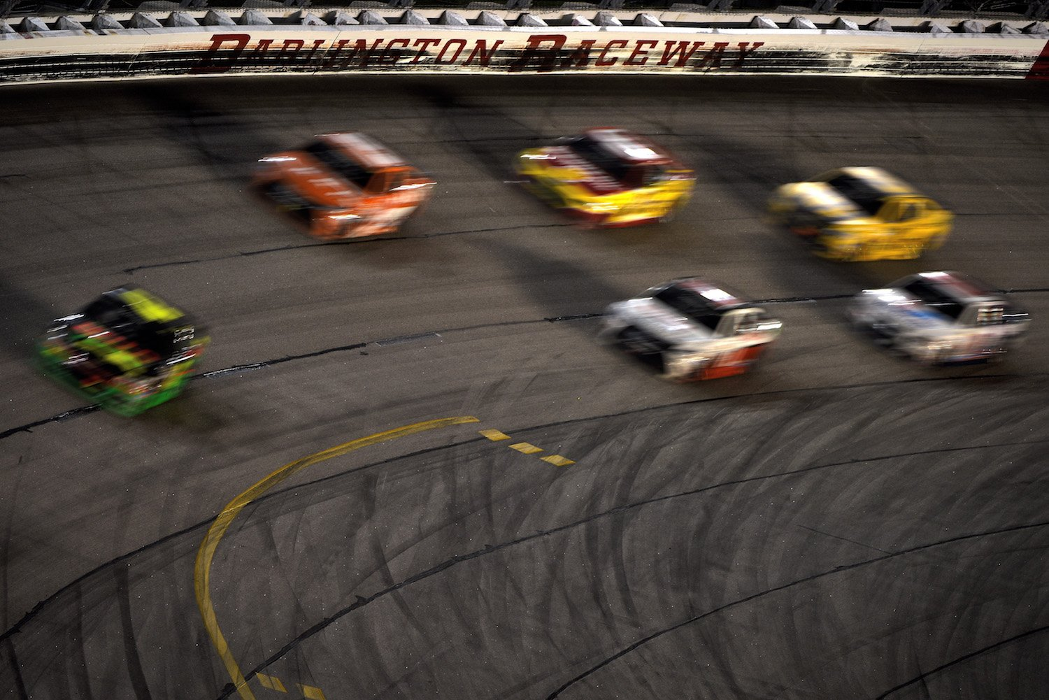 DARLINGTON, SC - SEPTEMBER 06: Kyle Larson, driver of the #42 Mello Yello Chevrolet, leads a pack of cars during the NASCAR Sprint Cup Series Bojangles' Southern 500 at Darlington Raceway on September 6, 2015 in Darlington, South Carolina. (Photo by Jonathan Moore/Getty Images)