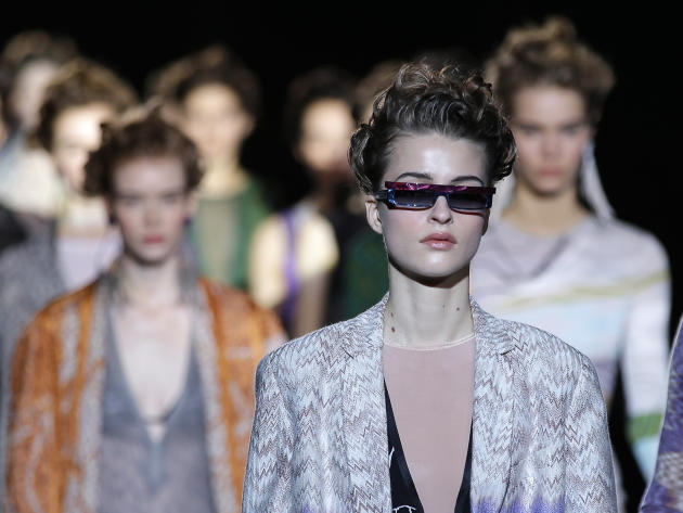 Models wear creations for Missoni women's Fall-Winter 2015-2016 collection, part of the Milan Fashion Week, unveiled in Milan, Italy, Sunday, March 1, 2015. (AP Photo/Antonio Calanni)