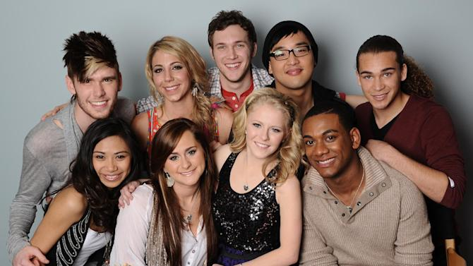 "FILE - In this image March 22, 2012 file photo originally released by Fox, the remaining nine contestants on the singing competition series ""American Idol,"" clockwise from top left, Colton Dixon, Elise Testone, Phillip Phillips, Heejun Han, DeAndre Brackensick, Josh Ledet, Hollie Cavanaugh, Skylar Laine and Jessica Sanchez are shown in Los Angeles. (AP Photo/Foc, Michael Becker)"